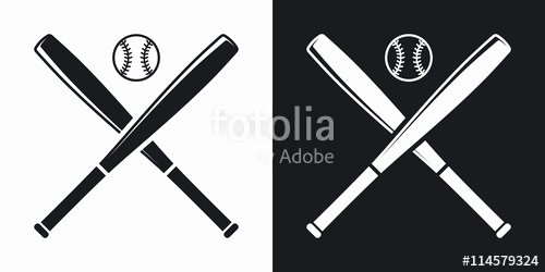 "Baseball Bat Vector Free New ""vector Baseball Bats and Ball Icon Two tone Version On Black and White Background"" Stock Image"
