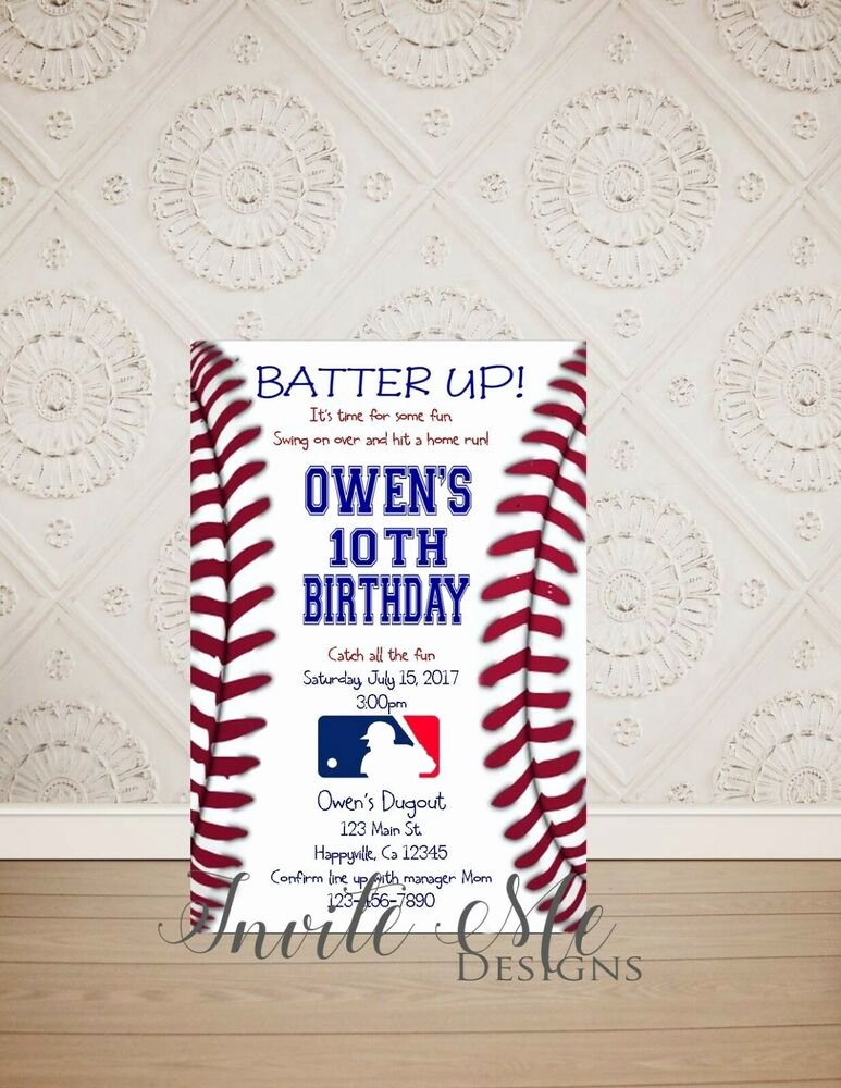 Baseball Birthday Party Invitations Awesome Baseball Birthday Invitation Baseball Party Invitation Digital File