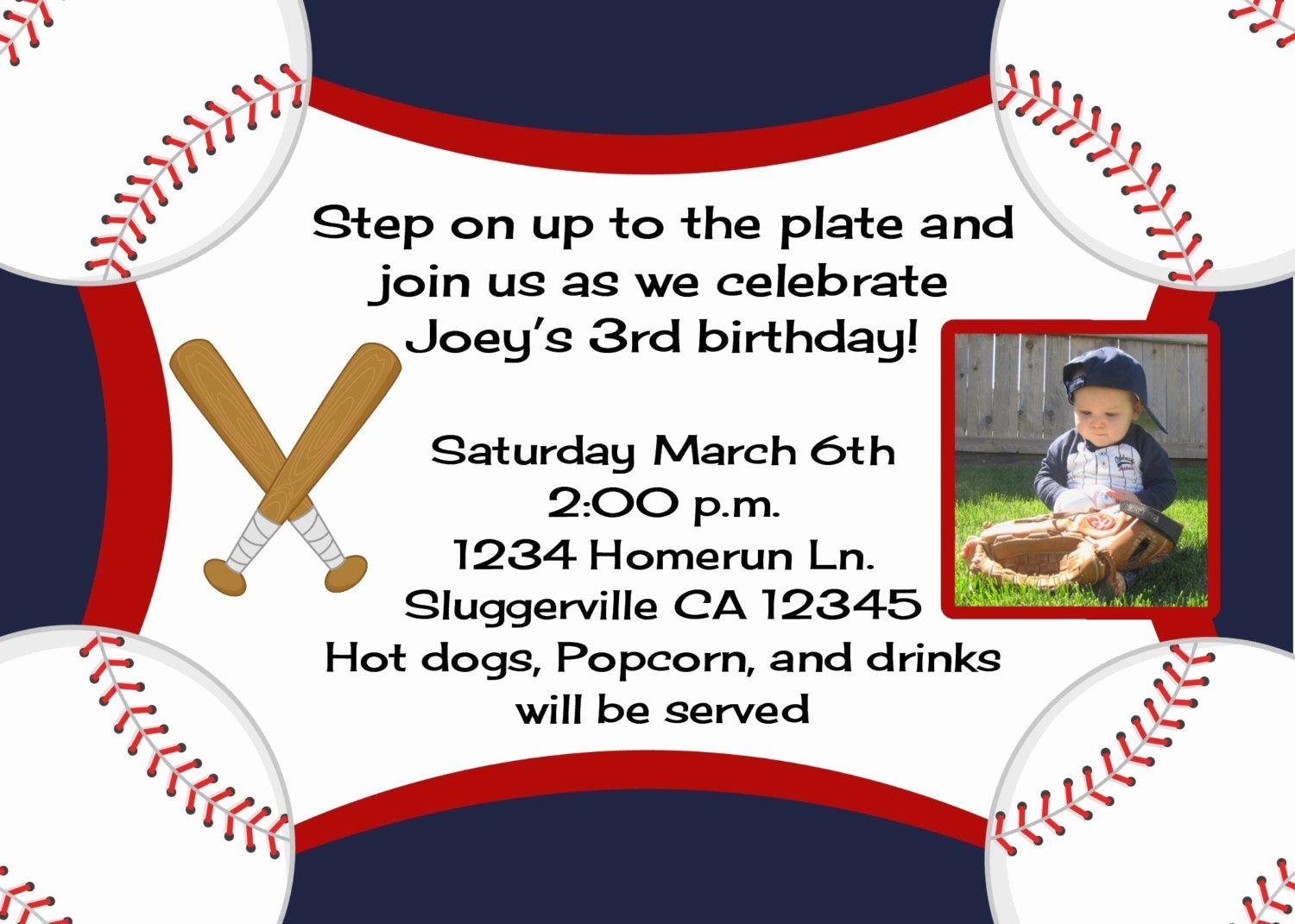 Baseball Birthday Party Invitations Luxury Baseball Birthday Invitation with Option Any Mlb or