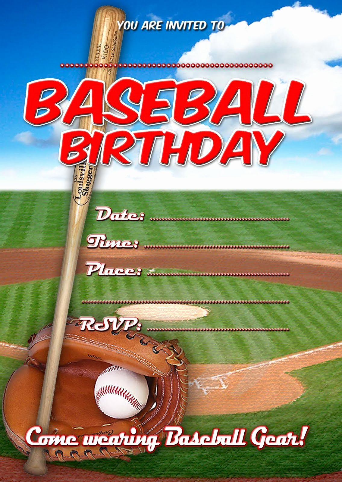 Baseball Birthday Party Invitations Luxury Free Kids Party Invitations Baseball Birthday Invitation