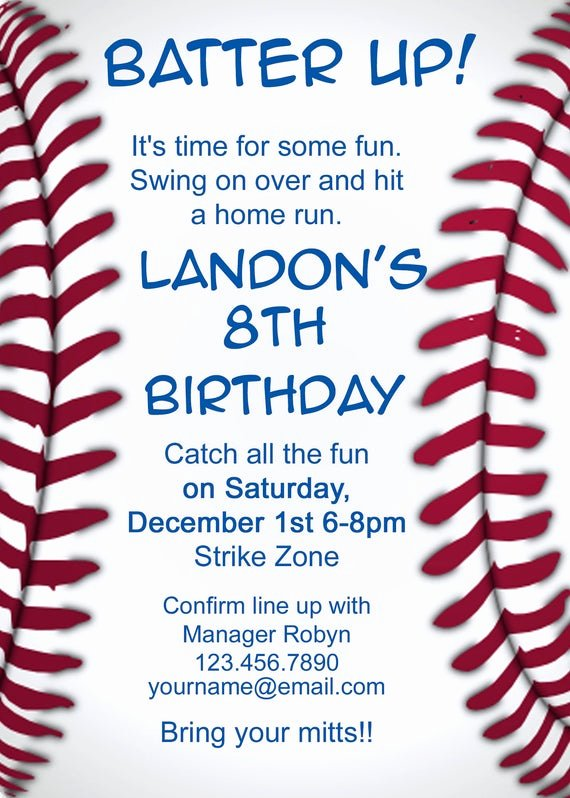 Baseball Birthday Party Invitations New Baseball Invitation by Makeitpersonalforyou On Etsy