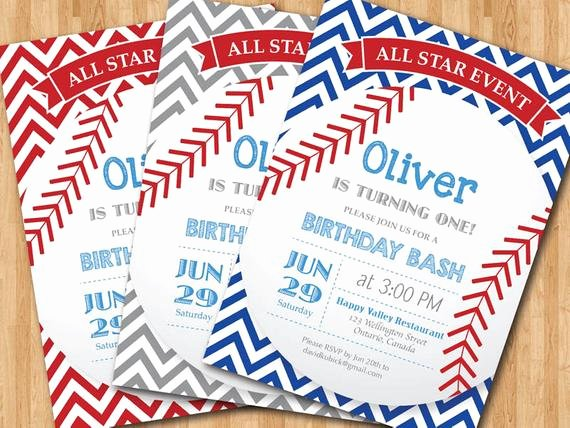 Baseball Birthday Party Invitations Unique Baseball Birthday Invitation First Birthday Baby Boy Chevron