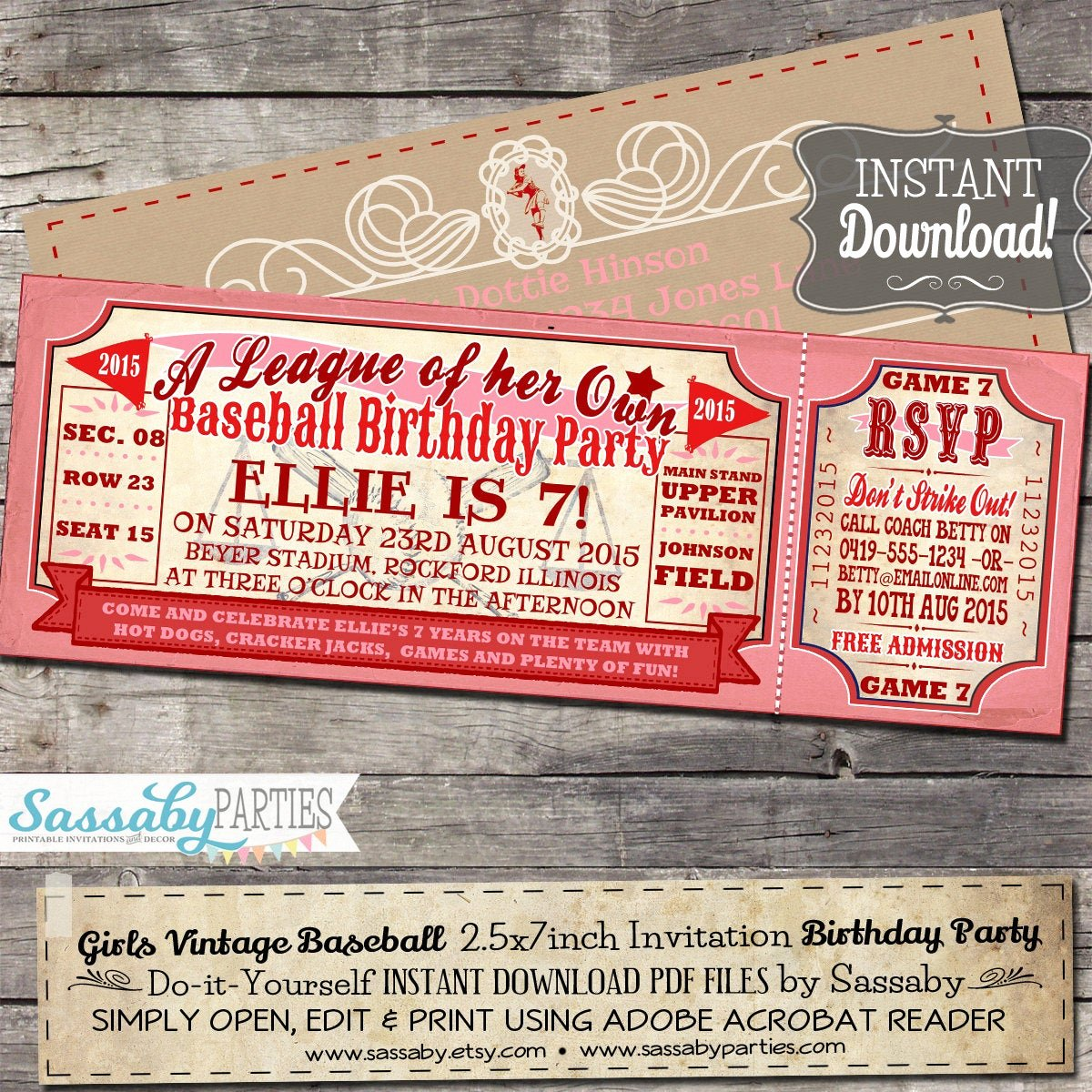 Baseball Birthday Party Invitations Unique Vintage Girls Baseball Birthday Invitation A League Of Her