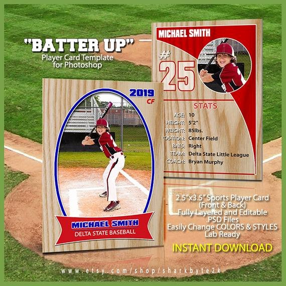 Baseball Card Template Photoshop Beautiful Baseball Sports Trader Card Template for Shop Batter Up