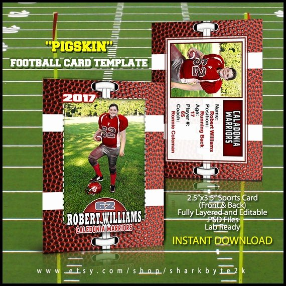Baseball Card Template Photoshop Inspirational Shop Football Card Template Great for Sports Team and