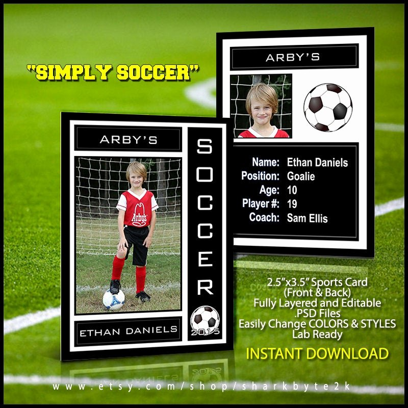 Baseball Card Template Photoshop Lovely 2017 soccer Sports Trader Card Template for Shop Simply