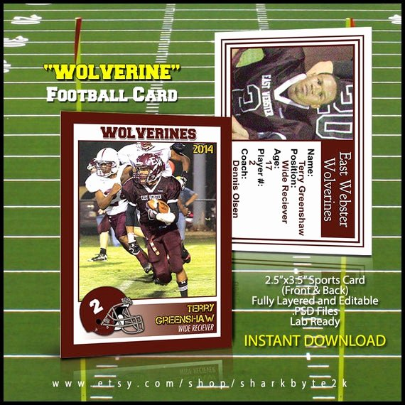 Baseball Card Templates Photoshop Awesome 2019 Football Sports Trader Card Template for Shop