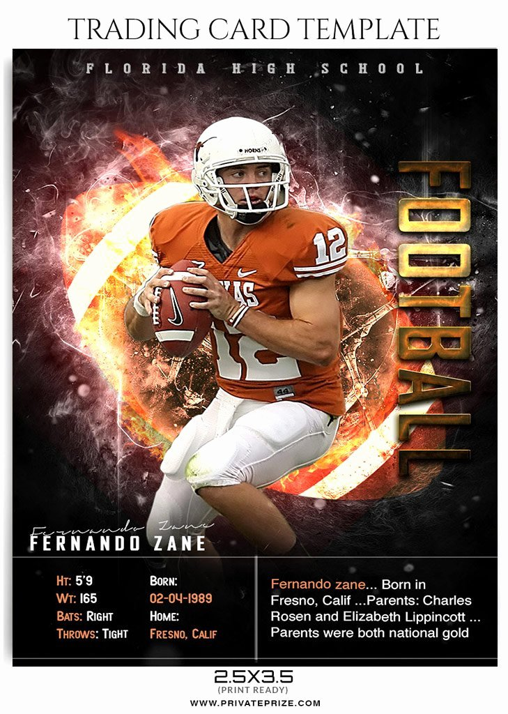 fernando zane football sports trading card photoshop template
