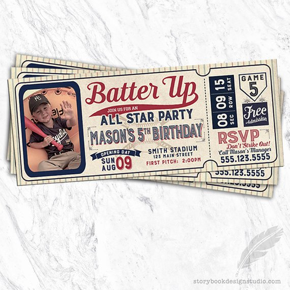Baseball Ticket Birthday Invitations Awesome Baseball Birthday Invitations Baseball Tickets Stubs All