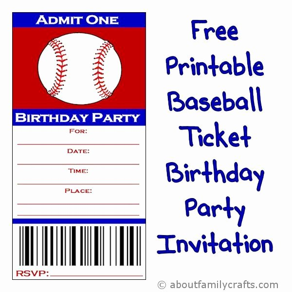 Baseball Ticket Birthday Invitations Awesome Baseball Ticket Birthday Party Invitation About Family Crafts Party Ideas