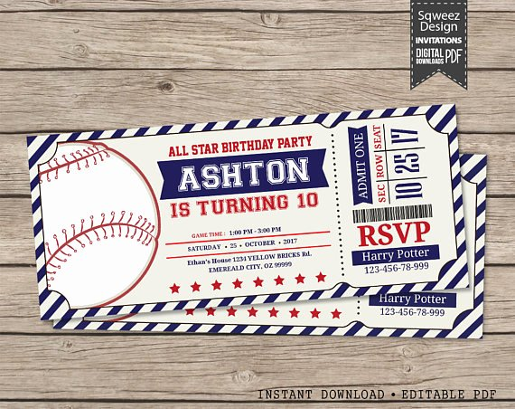 Baseball Ticket Birthday Invitations Beautiful Baseball Invitations Baseball Birthday Invitations Baseball