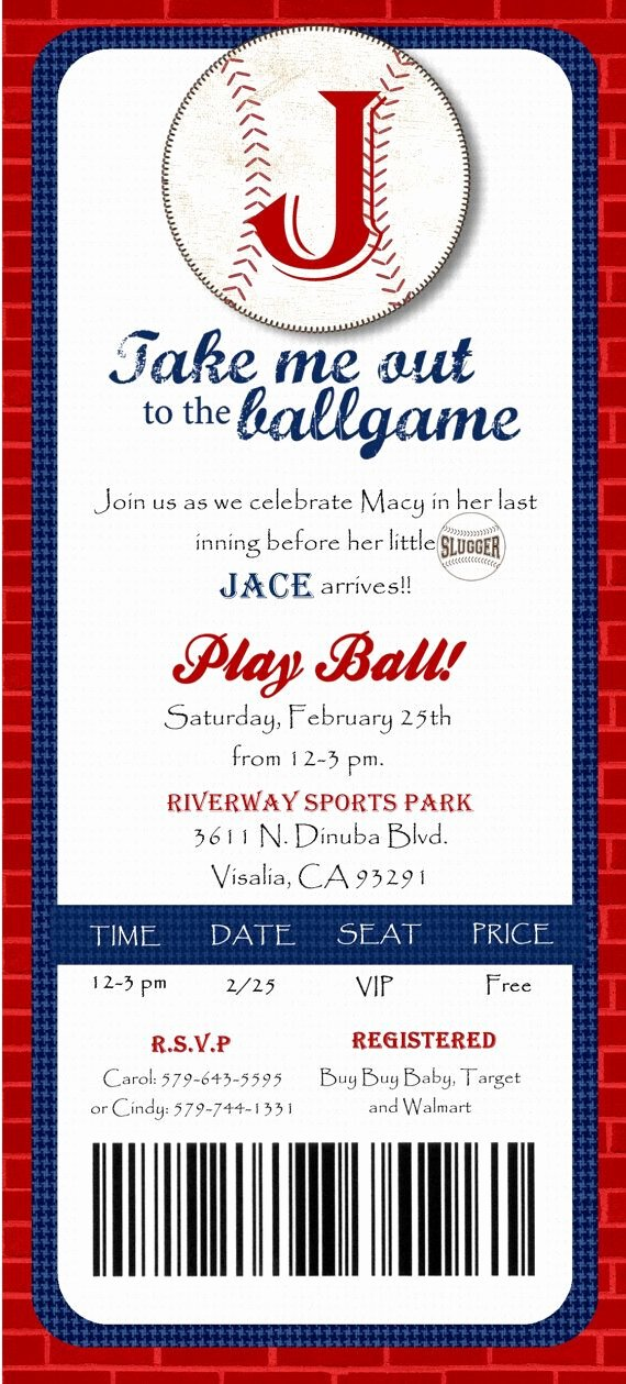Baseball Ticket Birthday Invitations Best Of Baseball Ticket Shower Baseball Ticket Birthday Invitation Baseball Ticket Invitation