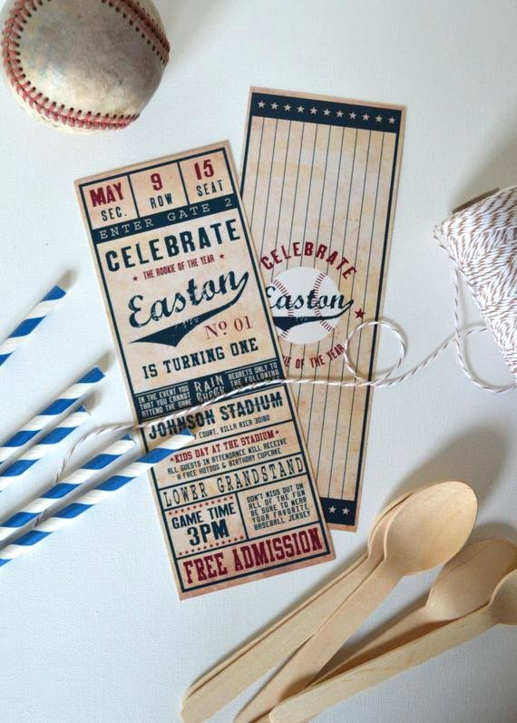 Baseball Ticket Birthday Invitations Best Of Vintage Baseball Ticket Invitation Printed & Shipped