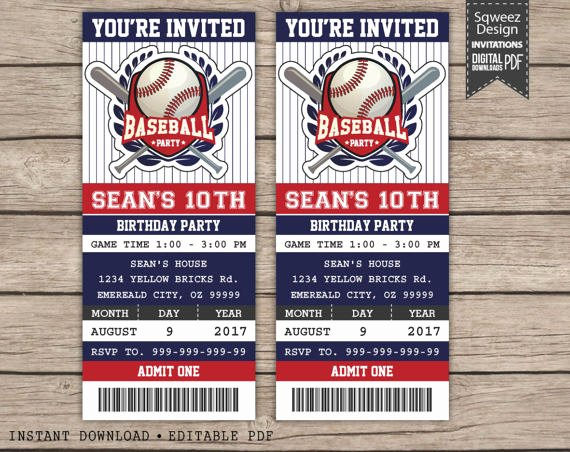 Baseball Ticket Birthday Invitations Elegant Baseball Birthday Invitation Baseball Ticket Invitation