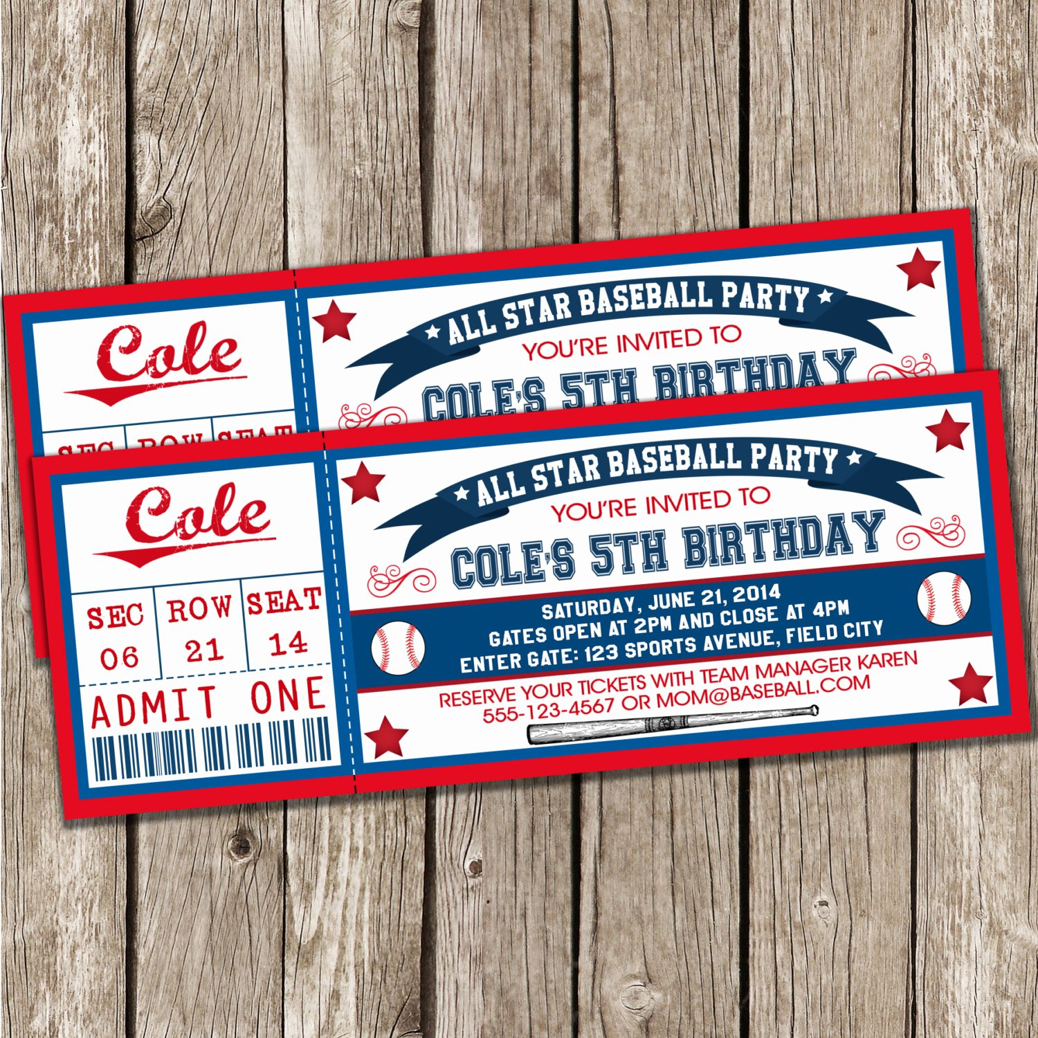 Baseball Ticket Birthday Invitations Elegant Baseball Ticket Invitation Blue & Red Baseball Birthday