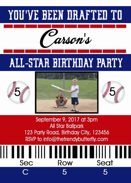 Baseball Ticket Birthday Invitations Fresh Baseball Birthday Invitation Baseball Ticket Party Invitation Baseball Birthday Party