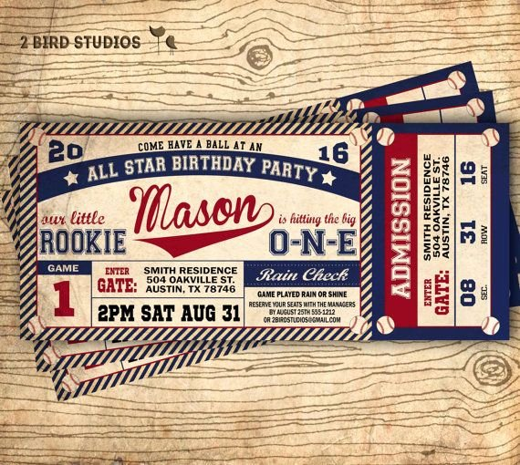 Baseball Ticket Birthday Invitations Inspirational Baseball Birthday Invitation Baseball Ticket by 2birdstudios First Birthday In 2019