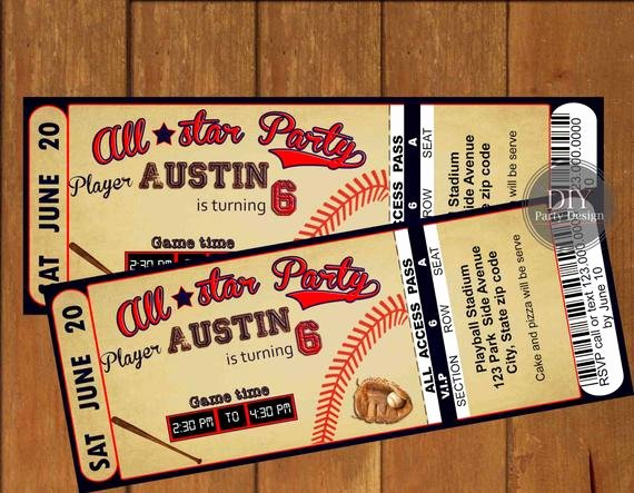 Baseball Ticket Birthday Invitations Inspirational Baseball Ticket Birthday Invitation Digital Party Invitation