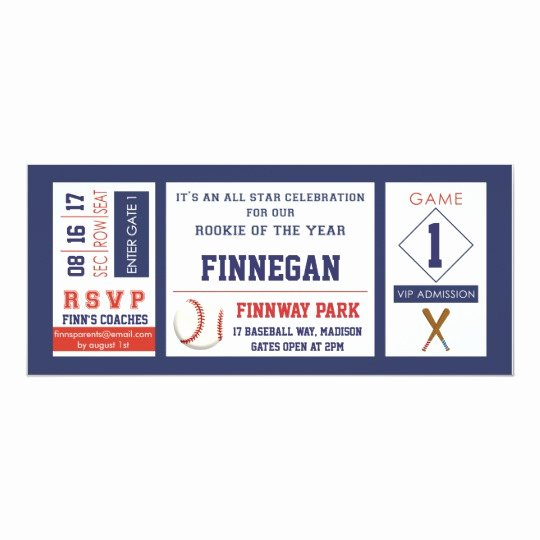 Baseball Ticket Birthday Invitations Inspirational Baseball Ticket Birthday Party Invitation