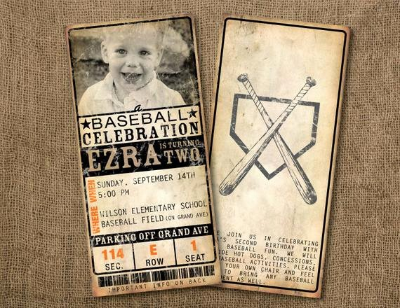 Baseball Ticket Birthday Invitations Lovely 20 Custom Vintage Baseball Ticket Invitations by Picklegraphics