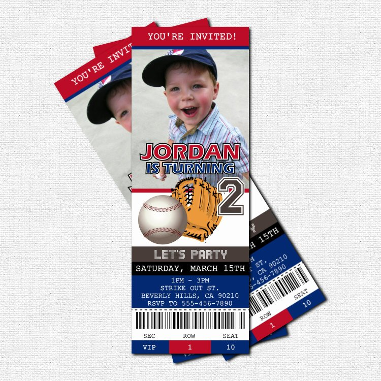 Baseball Ticket Birthday Invitations Luxury Lighting