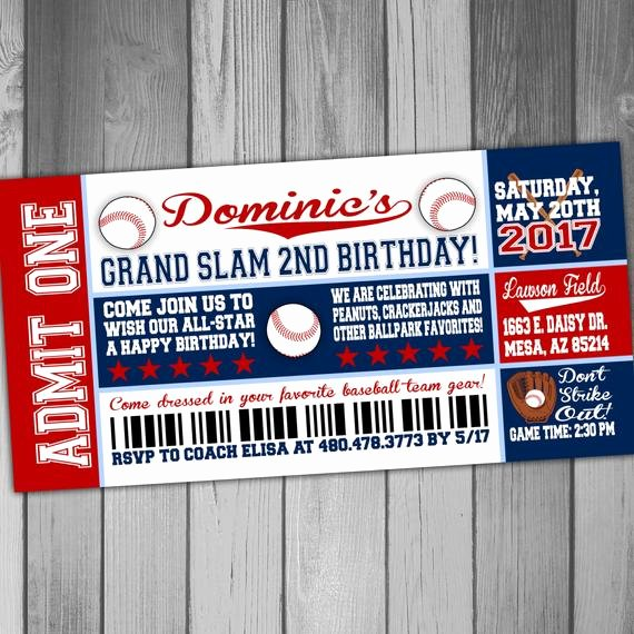 Baseball Ticket Birthday Invitations New Baseball Birthday Ticket Invitations Sports Birthday Party