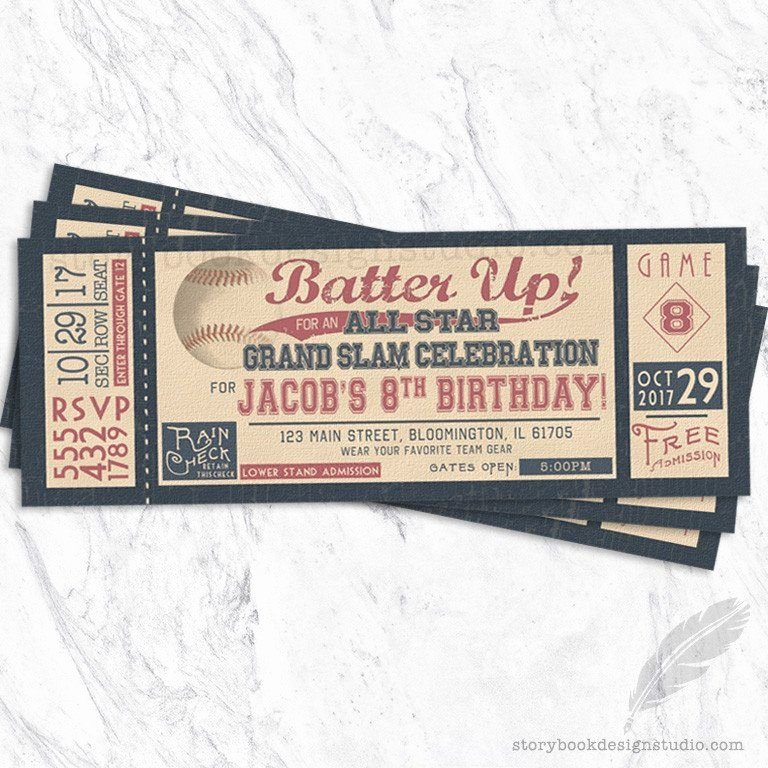 Baseball Ticket Birthday Invitations New Batter Up Vintage Baseball Ticket Birthday Party Invitations