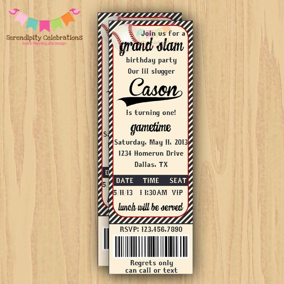 Baseball Ticket Birthday Invitations New Diy Digital Vintage Baseball Ticket Invitation Personalized
