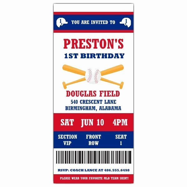 Baseball Ticket Birthday Invitations Unique 1st Baseball Ticket Birthday Invitations