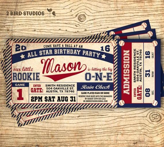 Baseball Ticket Birthday Invitations Unique Baseball Birthday Invitation Baseball Ticket by 2birdstudios