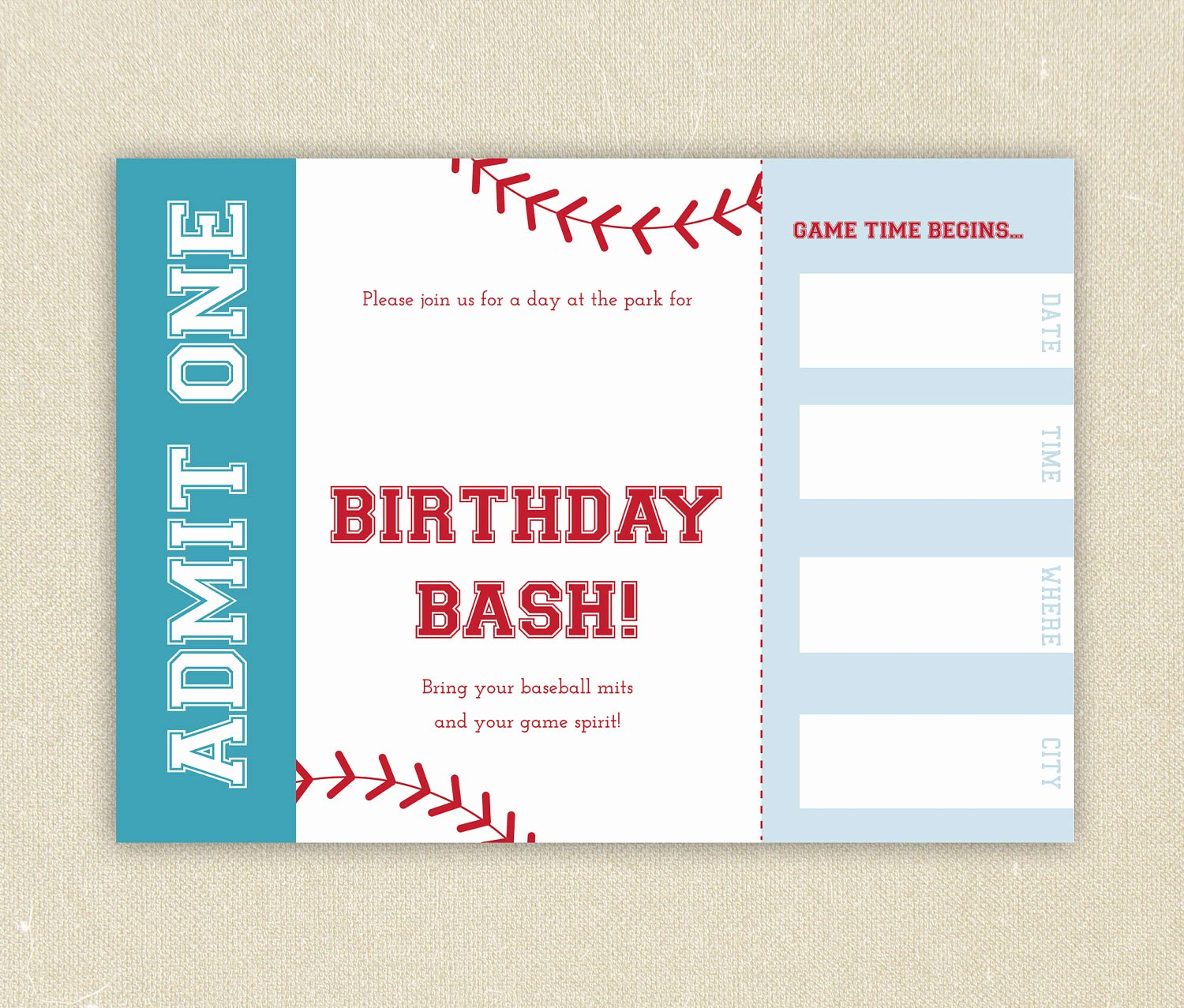 Baseball Ticket Invitation Template Free Awesome Free Baseball Ticket Birthday Invitation Template Free Invitation Templates Drevio