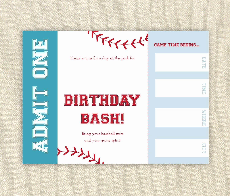 Baseball Ticket Invitation Template Free Awesome Free Baseball Ticket Birthday Invitation Template Free Invitation Templates Drevio