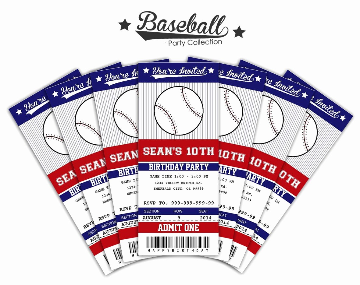 Baseball Ticket Invitation Template Free Best Of Baseball Ticket Invitations Printable Instant by Sqweezdesign