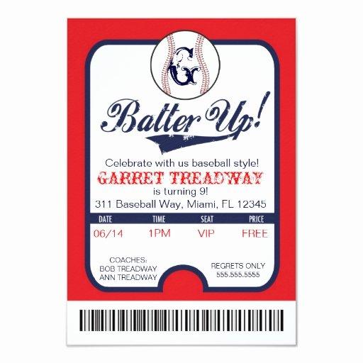 Baseball Ticket Invitation Template Free Fresh Lgc Batter Up Baseball Ticket Celebration Birthday 3 5x5 Paper Invitation Card