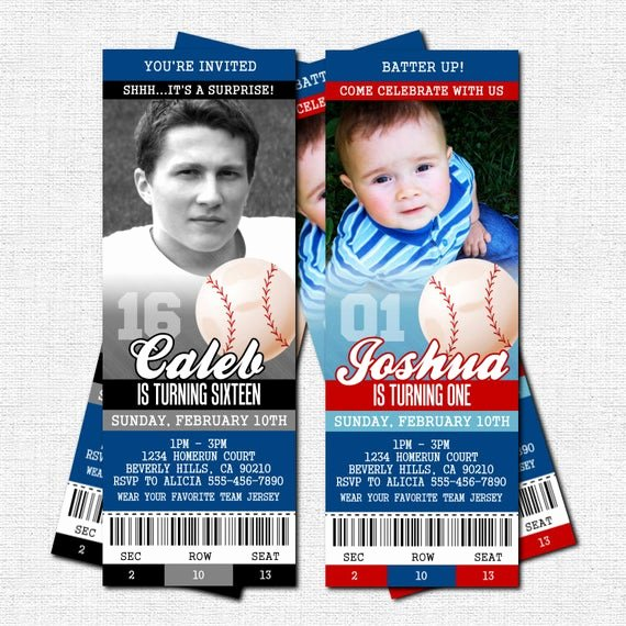 Baseball Ticket Invitation Template Free Inspirational Baseball Ticket Invitations Birthday Party Bonus by nowanorris