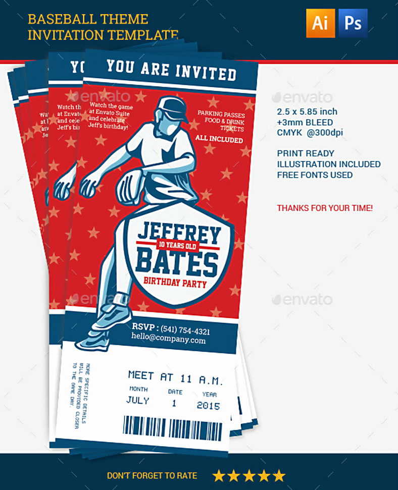 Baseball Ticket Invitation Template Free Lovely 15 Baseball Party Invitation Designs & Templates Psd Ai