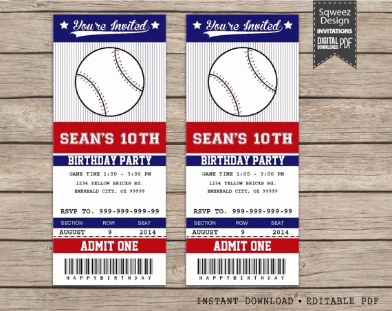 Baseball Ticket Invitation Template Free New Baseball Invitations Baseball Ticket Invitations Sport
