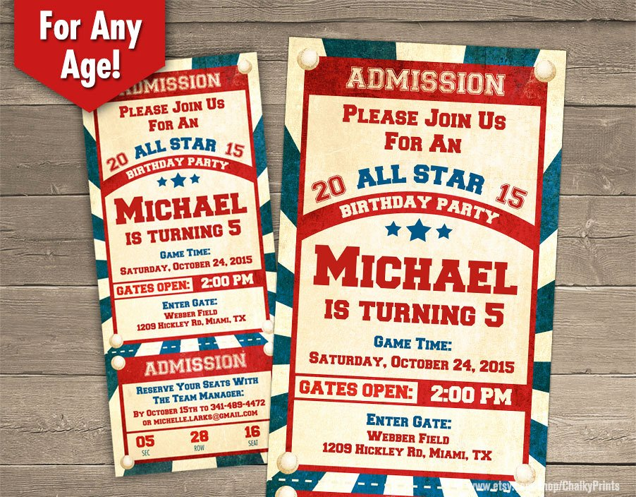 Baseball Ticket Invitation Template Free New Baseball Ticket Invitation Baseball Birthday Invitation