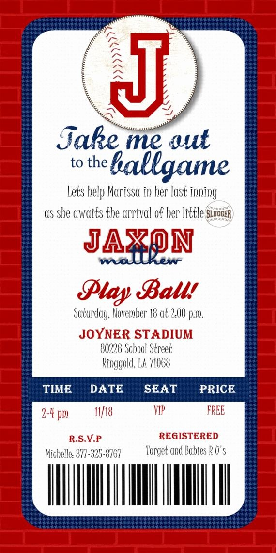 Baseball Ticket Invitation Template Free New Custom Printable Baseball Ticket Invitation by Joyinvitations