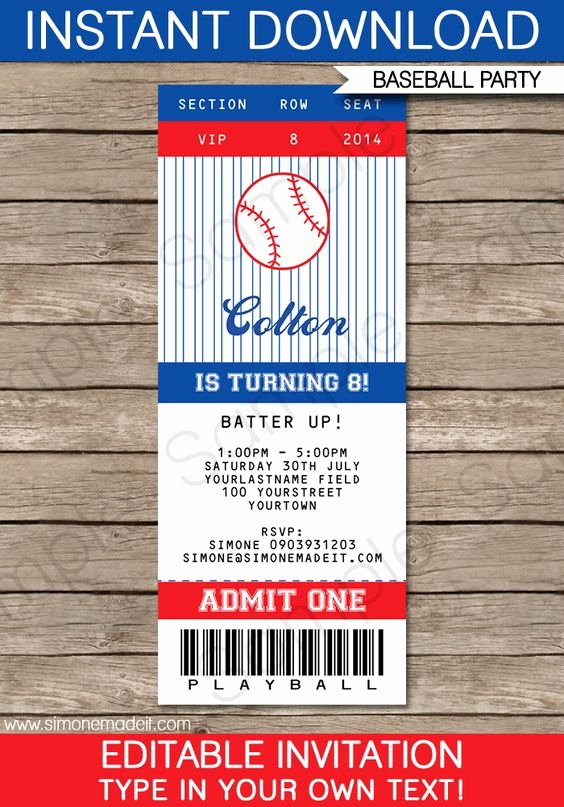 Baseball Ticket Invitation Template Free New Pinterest • the World's Catalog Of Ideas
