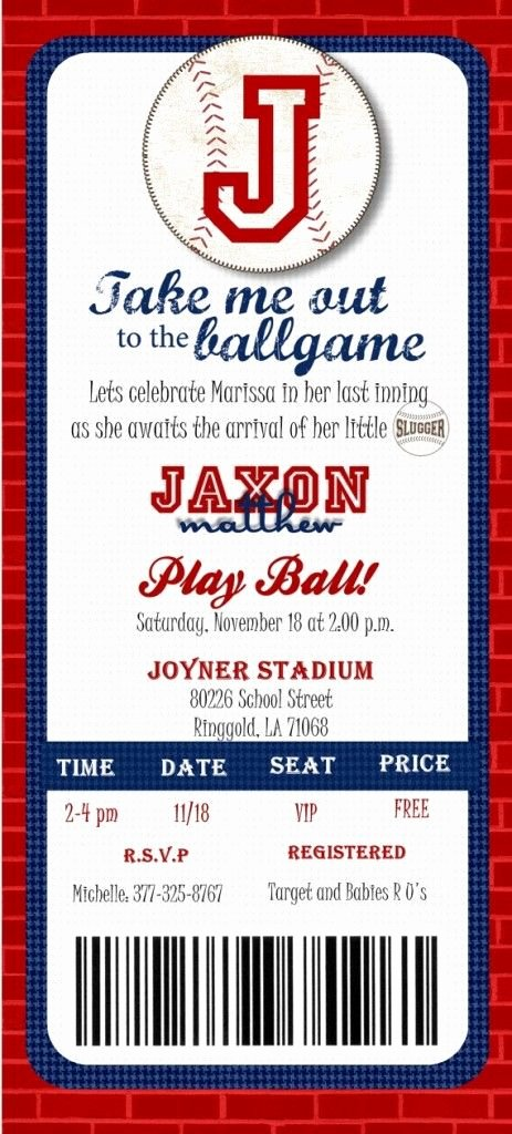 Baseball Ticket Invitation Template Free Unique Baseball Ticket Baby Shower Invitations Template Baseball Baby Shower Invitations