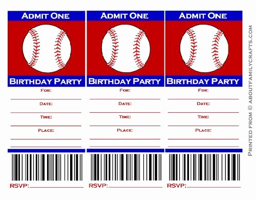 Baseball Ticket Invitation Template Free Unique Baseball Ticket Birthday Party Invitation – About Family Crafts