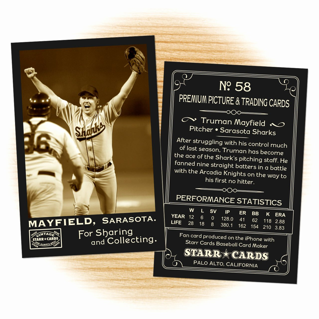 Baseball Trading Cards Template Beautiful Custom Baseball Cards Vintage 95™ Series Starr Cards