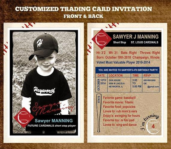 Baseball Trading Cards Template Inspirational Customizable Team Baseball Trading Card Party Invitation 4 X 6