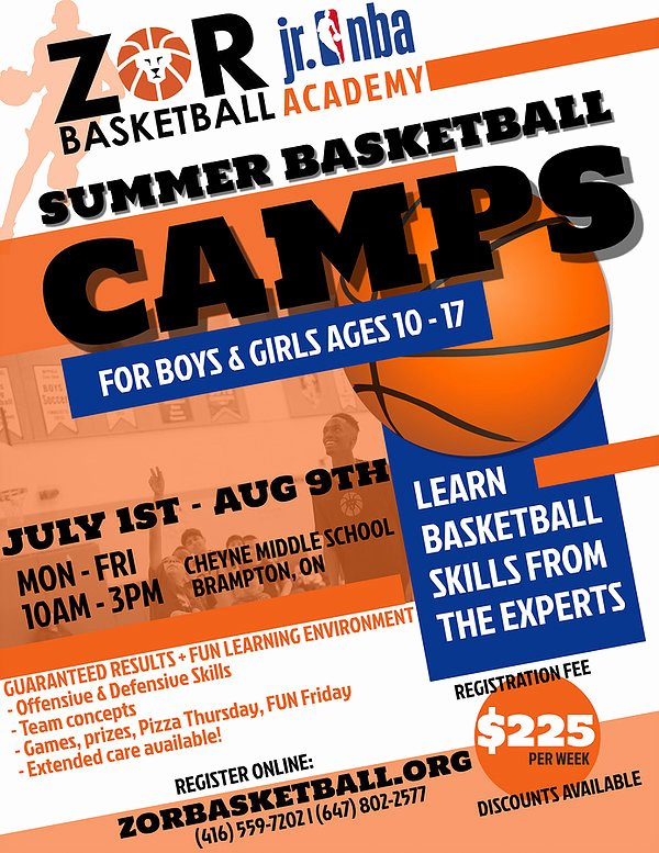 Basketball Camp Flyer Template Inspirational Zor Basketball Camps Basketball Training Basketball Brampton Raptors
