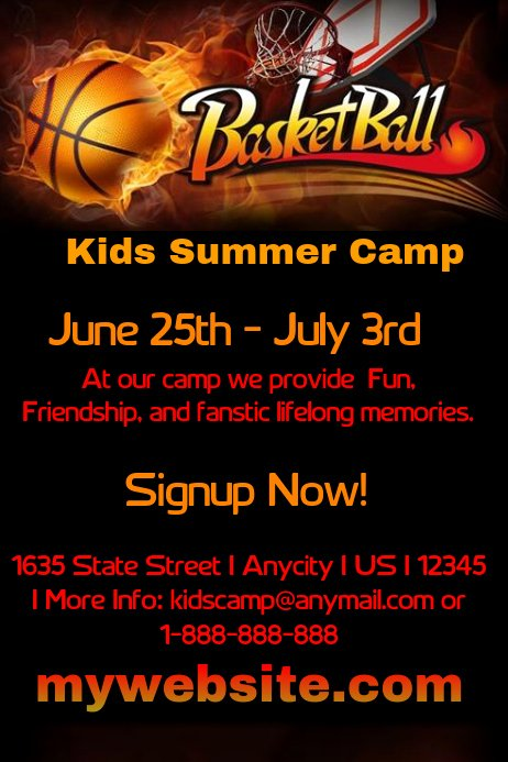 Basketball Camp Flyer Template Luxury Kids Basketball Camp Template