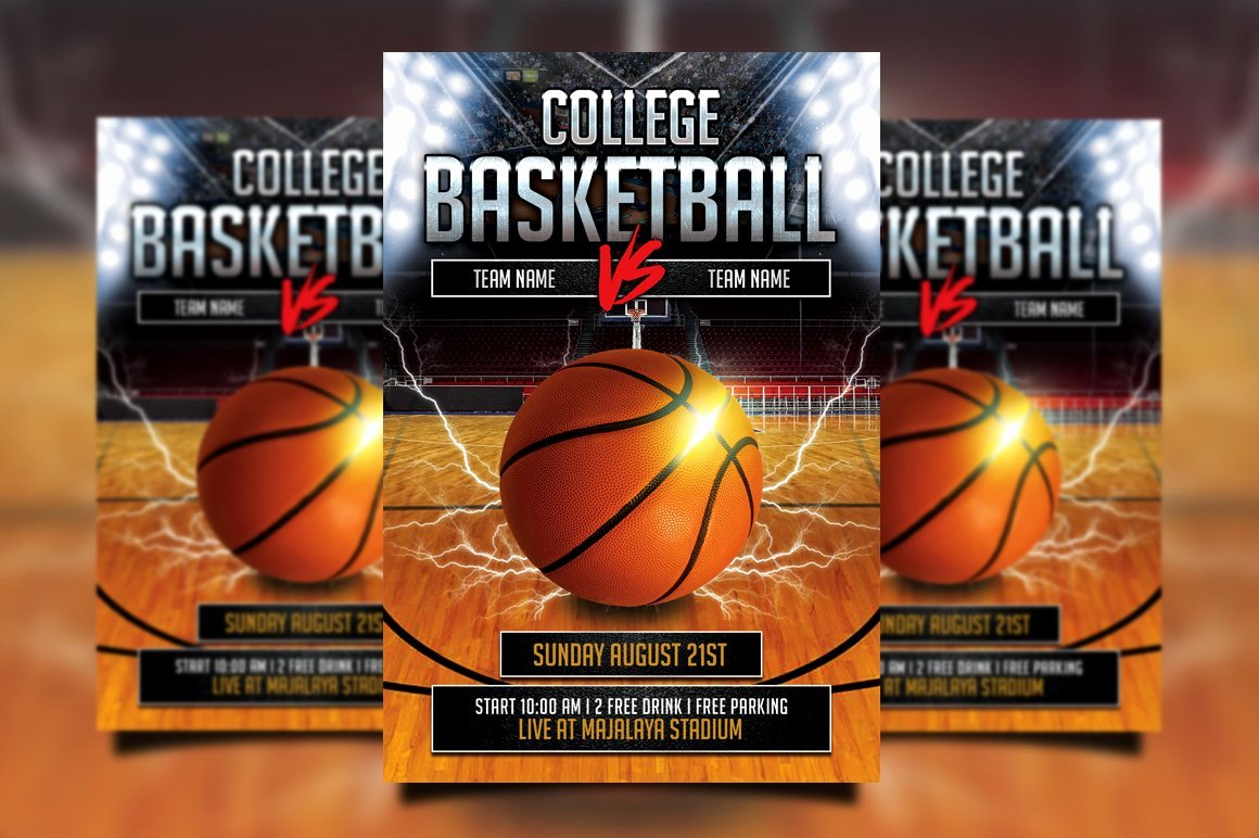 Basketball Flyer Template Free Inspirational College Basketball Flyer Flyer Templates Creative Market