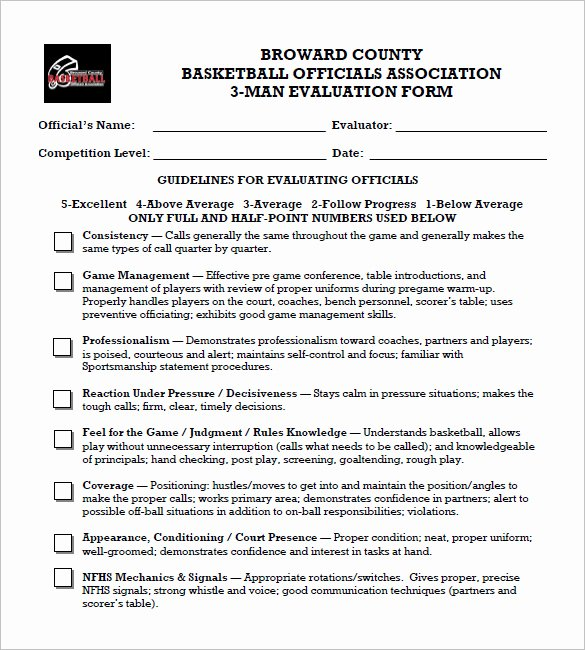 Basketball Player Evaluation form Awesome 12 Free Basketball Evaluation forms