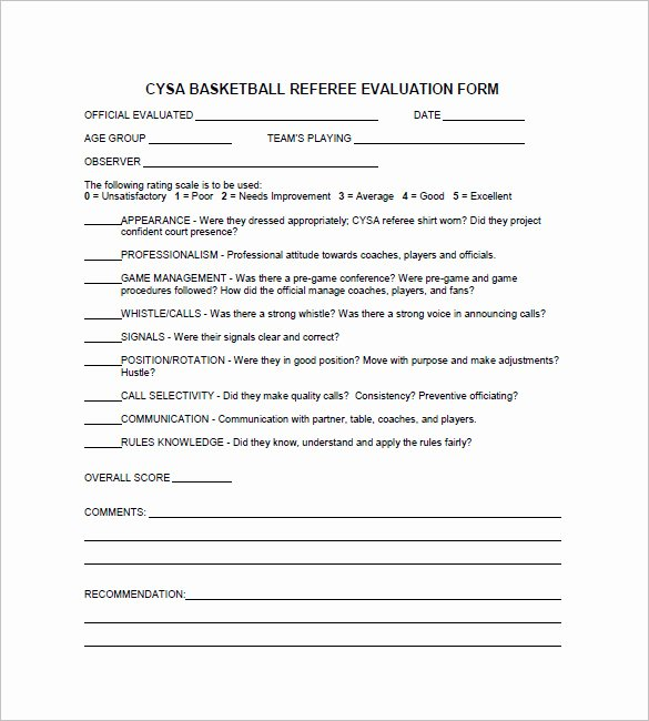 Basketball Player Evaluation form Fresh 12 Free Basketball Evaluation forms