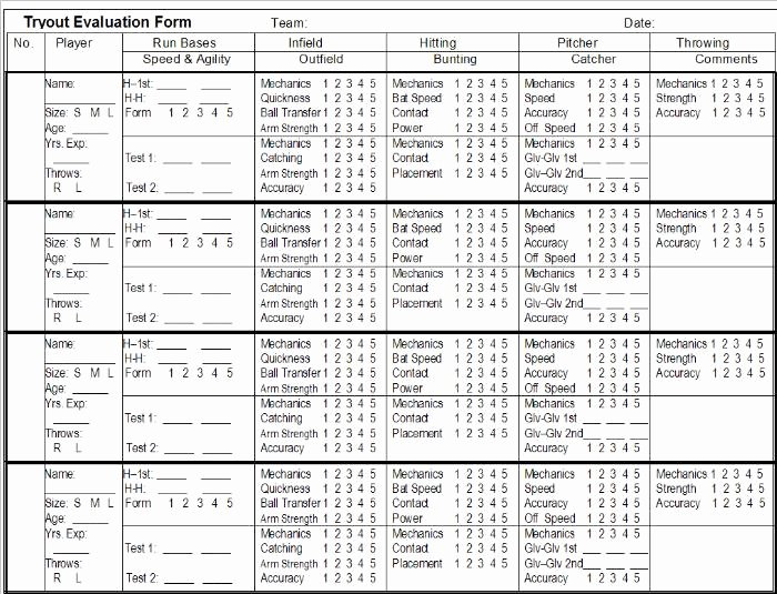 Basketball Player Evaluation form Inspirational Baseball Tryout Evaluation Sheet